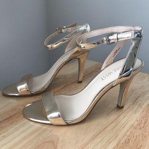 Nine West Ankle Strap Sandals - Gold